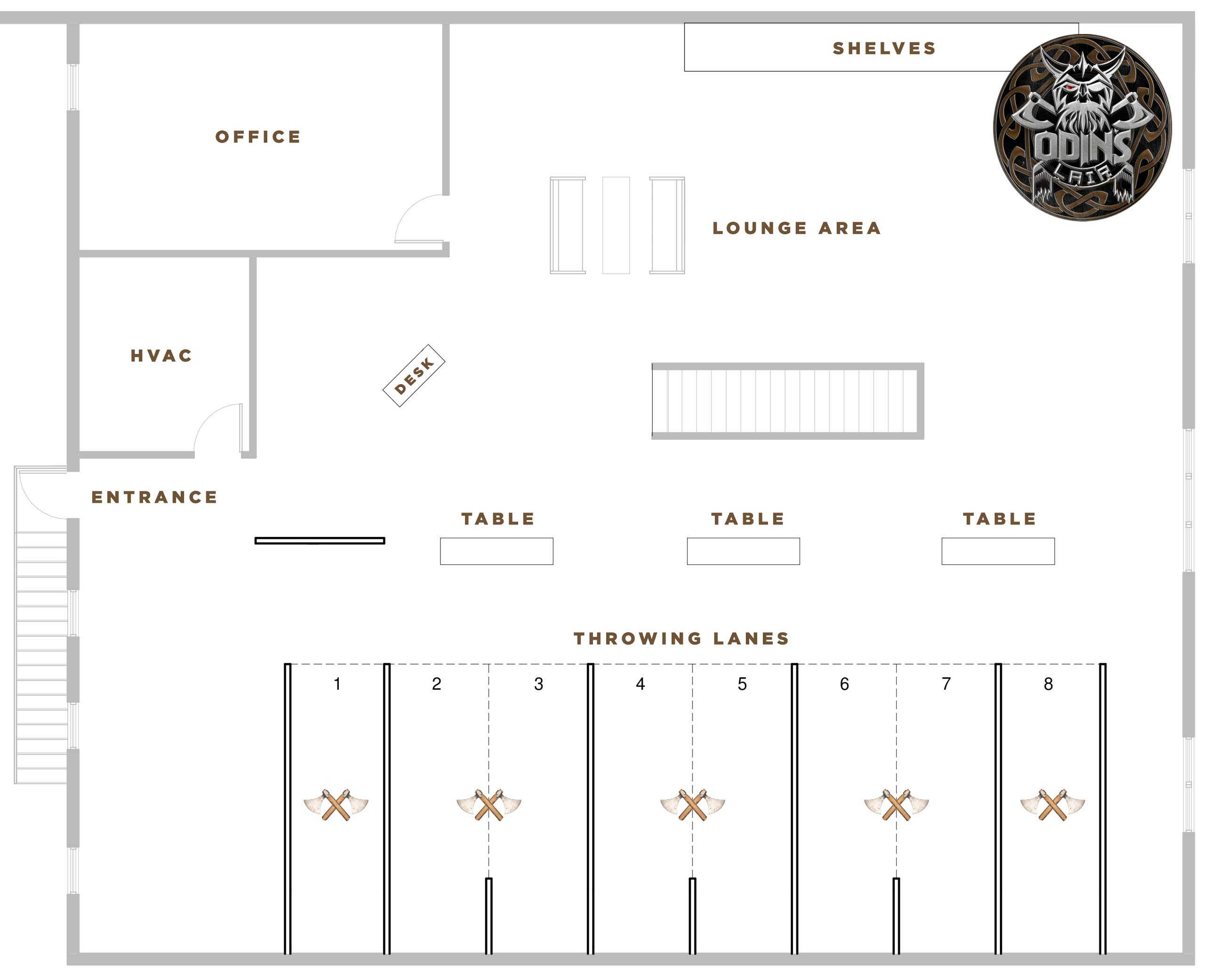 Axe Throwing @ Odin's Lair - Floor Plan